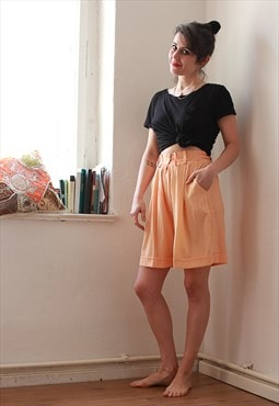 Vintage Peach Knee Length Shorts Culottes