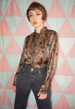 Vintage 80s Brown Floral Patterned Mandarin Collar Shirt