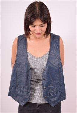 Womens Vintage Leather Waistcoat Medium Blue 90s