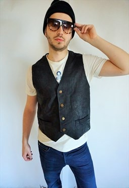 Vintage Suede Leather Bomber Vest Top Black Biker Rocker