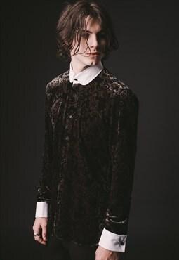 Mens Paisley Tab Collar Velvet Shirt
