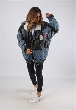 Vintage Flight Denim Bomber Jacket Oversized Sherpa (RBH)