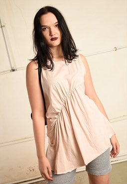 Draped festival tunic blouse top in pastel pink