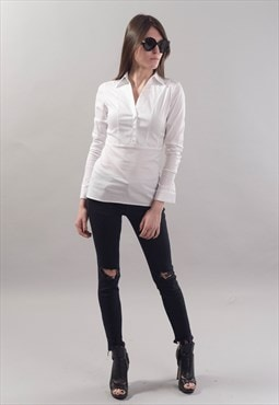 Slim White Shirt Casual Top Cotton Business outfit F1810