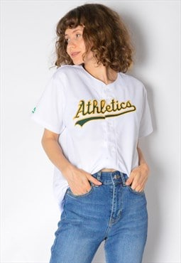 Y2K White Baseball Athletics Sports Jersey Shirt Petite