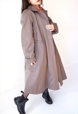 Vintage 90s lined brown unisex trench coat with belt M L