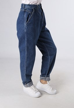 High Waisted Denim Jeans Wide Tapered Leg UK 12 (E92K)