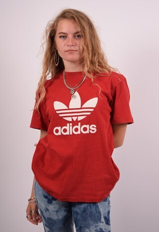 VINTAGE ADIDAS T-SHIRT TOP RED