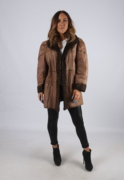 Vintage Sheepskin Leather Shearling Coat Short UK 16 (J2R)