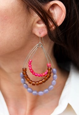 Long earrings with handmade beads