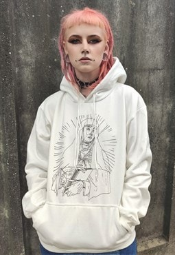 Virgin Mary print hoodie religious theme  hooded sweatshirt