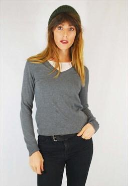 Vintage Tommy Hilfiger V Neck Jumper Sweater Grey
