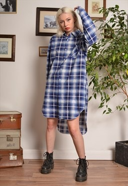 Vintage 90s Check Flannel Dress in Blue