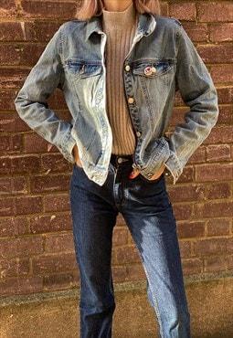 Vintage 90s Light Blue Denim Cropped Y2K Jacket