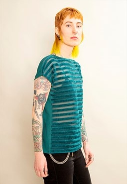 Emerald Green Multiway Blouse with Velvet Stripes