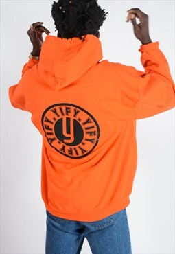 Unisex hoodie in orange with stamp logo.