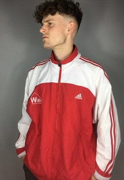 Vintage red and white adidas festival jacket