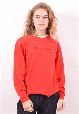 Champion Womens Vintage Sweatshirt Jumper Medium Red 90s