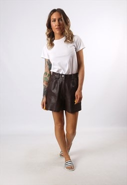 High Waisted Leather Shorts Bohemian UK 8 - 10 (K7CW)