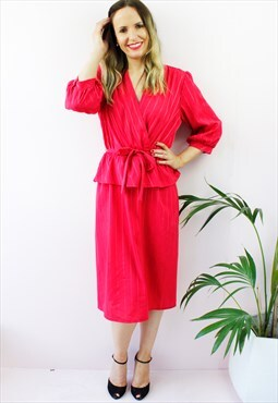 Vintage 80's Red Peplum Frill Midi Dress