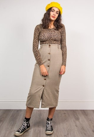 VINTAGE 90'S BEIGE CHECK PATTERN PENCIL MIDI SKIRT