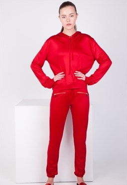 Red Loose-Fit Tracksuit Sweats