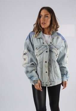 Vintage Denim Jacket Oversized Fitted UK 16 - 18  XL (HP1Q)