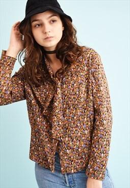 70's retro Mod print tie up blouse top