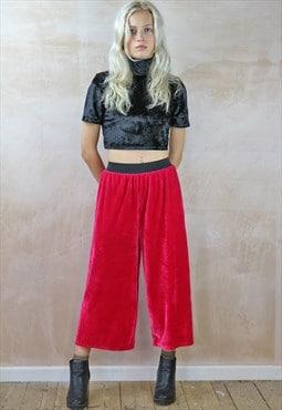 Crop Trousers in pink velvet