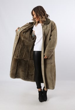 Sheepskin Suede Coat Jacket Shearling 90's Long UK 16 (LHCP)