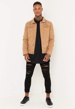 Liquor n Poker - Denim Jacket in Tan with Distressing