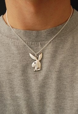"18"" Silver Playboy Necklace"