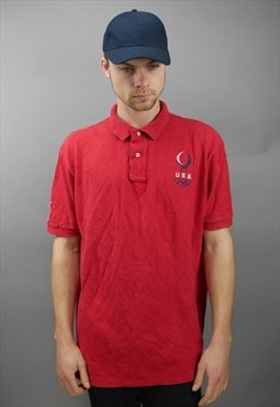Vintage Ralph Lauren 08 Olympics Polo Shirt in Red