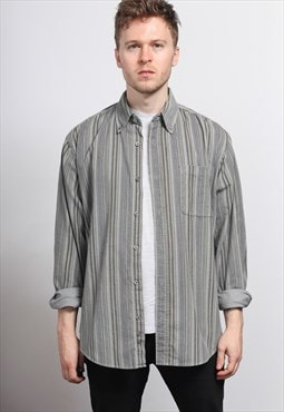 Vintage Corduroy Cord Striped Shirt Grey