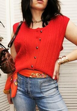 Vintage 90s minimalist red knit sleeveless sweater top