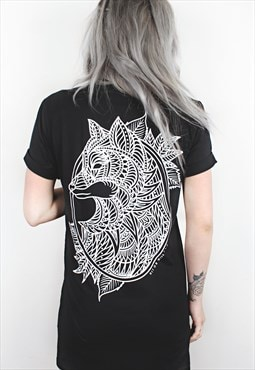 Fox Mandala Black Longline T-Shirt