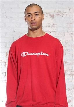 Vintage Champion Embroidered Logo Sweatshirt Red