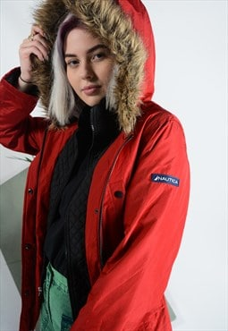Vintage Nautica Winter Jacket in red with logo.