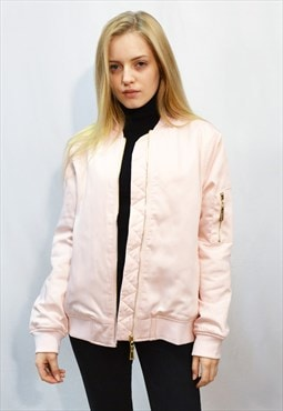 Oversized Satin Quilt Lining Bomber Jacket in Pink