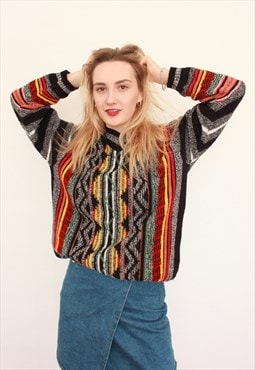 Vintage 90s Coogi Style Patterned Knit Jumper Sweater