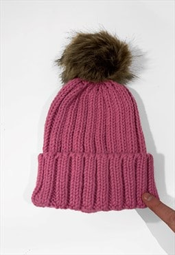 Contrast Faux Fur Bobble Knitted Ribbed Beanie Hat - Pink