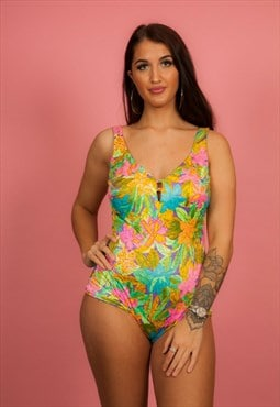 80s vintage multi coloured neon hawaiian print high rise
