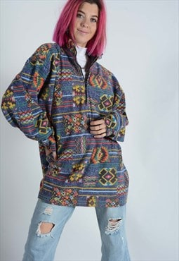 Vintage 1/4 zip fleece aztec patterned.