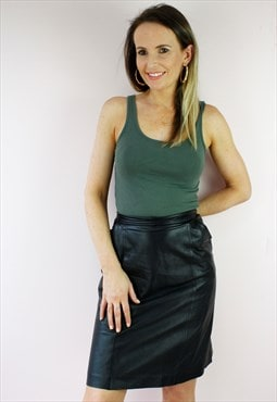 Vintage 80's Black Leather Button Detail Mini Skirt