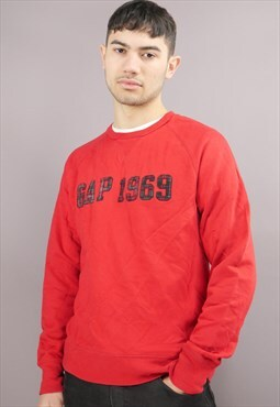 Vintage Gap Sweatshirt in Red with Plaid Logo