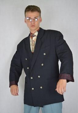 Vintage black oversize classic rave suit blazer