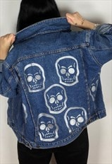 Reworked Skull Hand Painted Jacket Size Small