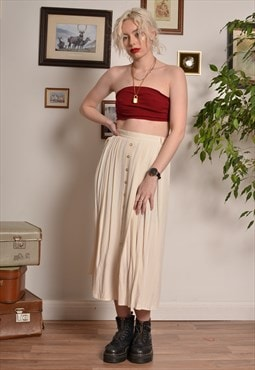 Vintage Pleated Button Midi Skirt in Cream