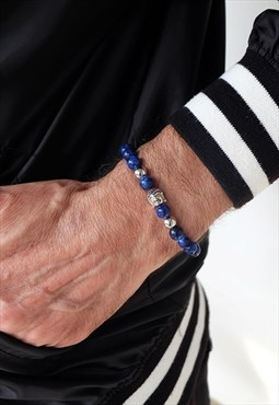 Lapis power bracelet with silver buddha head