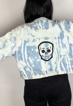 Acid Wash Skull Hand Painted Reworked Denim Jacket